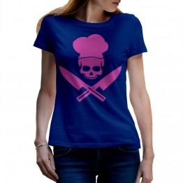 camiseta azul de mujer calavera chef
