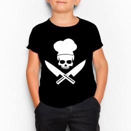 camiseta niño calavera chef negra