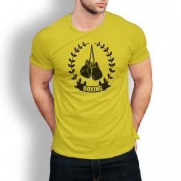 camiseta amarilla hombre laurel boxeo