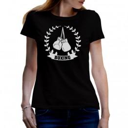 camiseta negra mujer laurel boxeo