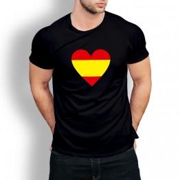 Camiseta negra corazón España hombre