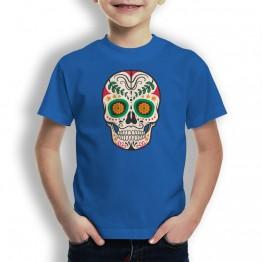 Camiseta calavera con hoja para niños