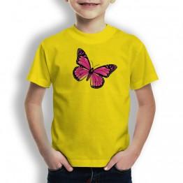 Camiseta Mariposa Rosa para niño