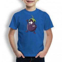 Camiseta Berenjena Saludando para niños