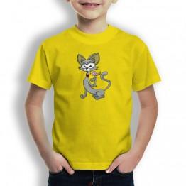 Camiseta Gato y Pajaro para Niños