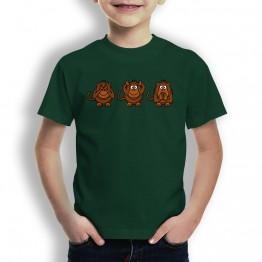 Camiseta Mono Ver Oir Callar para Niños