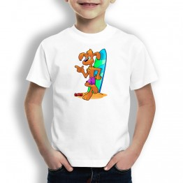 Camiseta Perro Surfero para Niños