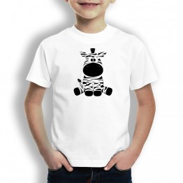 Camiseta Zebra Sentada para Niños