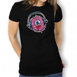 Camiseta Monstruo Cascos Musica para Mujer