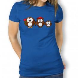 Camiseta Familia de Buhos para Mujer