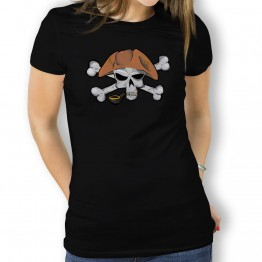 Camiseta Calavera Pirata Pipa para Mujer