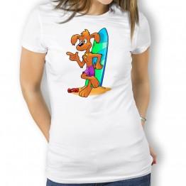Camiseta Perro Surfero para Mujer