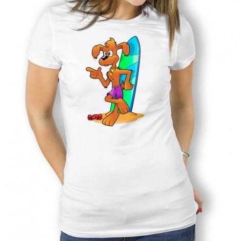 3435c09c28e41 Camiseta Perro Surfero para Mujer