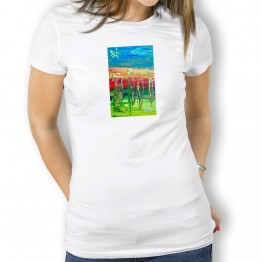 Peregrinos Bandera Oteiza Camiseta  para  mujer