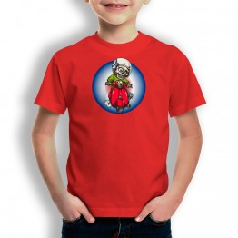 Camiseta Esqueleto con Moto para niños