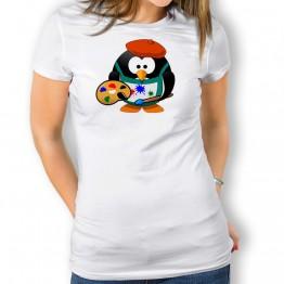 Camiseta Pingüino Pintor para mujer