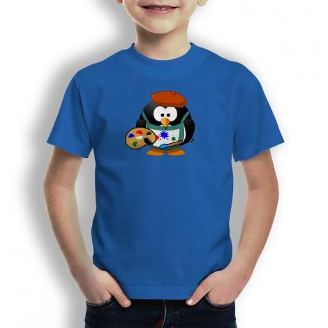 Camiseta Pingüino Pintor para niños