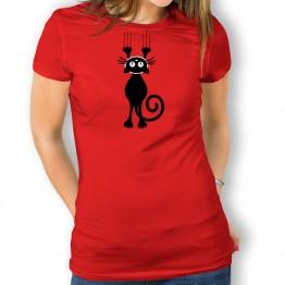Camiseta Gato Escurriendose para mujer