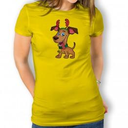 Camiseta Perro Navidad para mujer