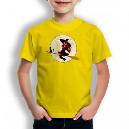 Camiseta Bruja y Gato PARA niños