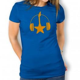 Camiseta Guitarra y Cascos para mujer