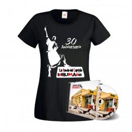 Pack Camiseta Mujer Negra con silueta  y CD pasan factura