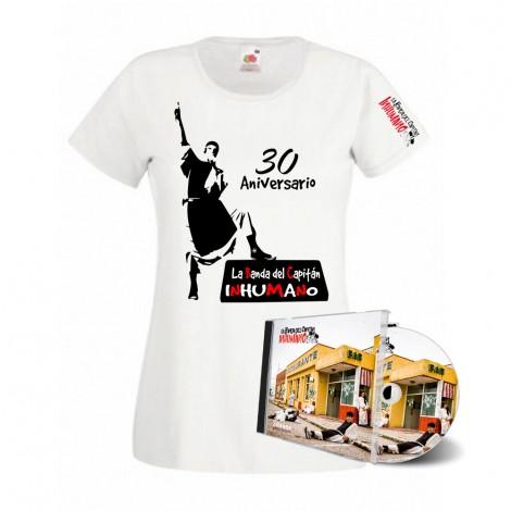 Pack Camiseta Mujer Blanca con silueta  y CD pasan factura