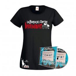 Pack Camiseta Mujer Negra y CD poptuor en directo