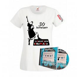 Pack Camiseta Blanca Mujer con silueta poptuor