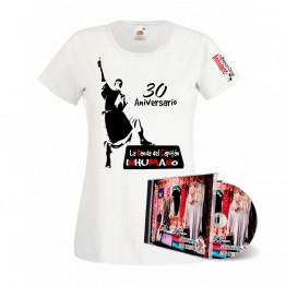 Pack Camiseta mujer Blanca con silueta y cd Saqueando Camerinos