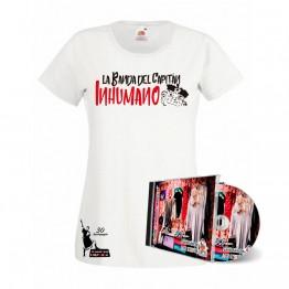 Pack Camiseta de mujer Blanca y CD Saqueando Camerinos