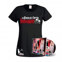 Pack Camiseta mujer Negra y CD Saqueando Camerinos